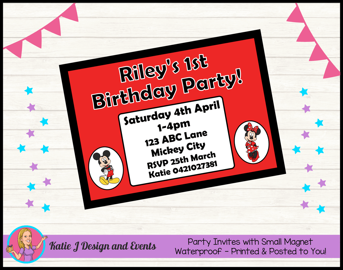 Personalised Mickey & Minnie Birthday Party Invites Invitations