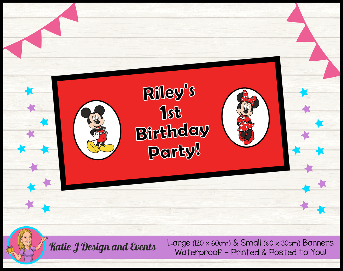 Personalised Mickey & Minnie Birthday Party Banner