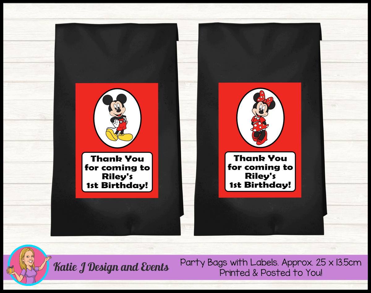 Personalised Mickey & Minnie Birthday Party Loot Bags