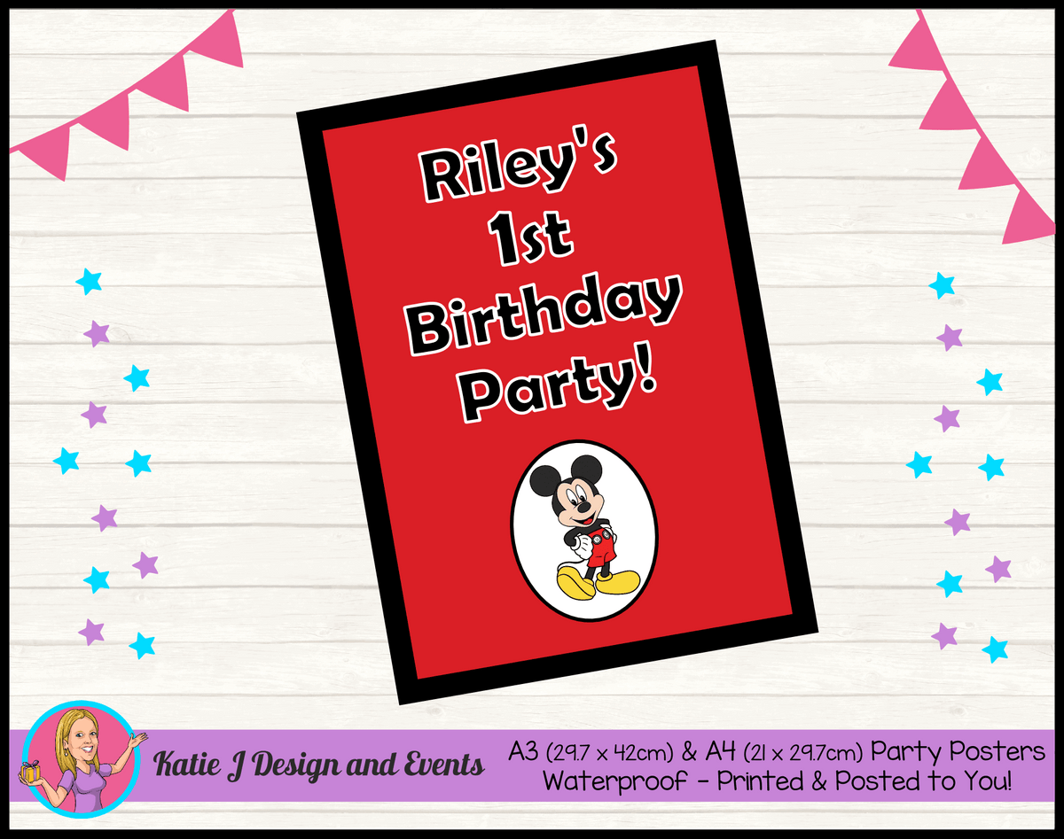 Personalised Red Mickey Mouse Birthday Party Poster