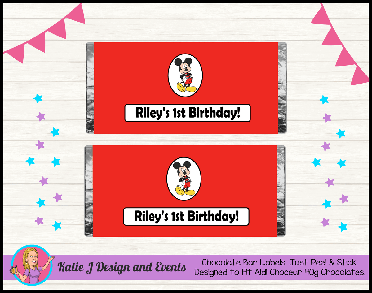 Personalised Red Mickey Mouse Chocolate Labels Wrappers