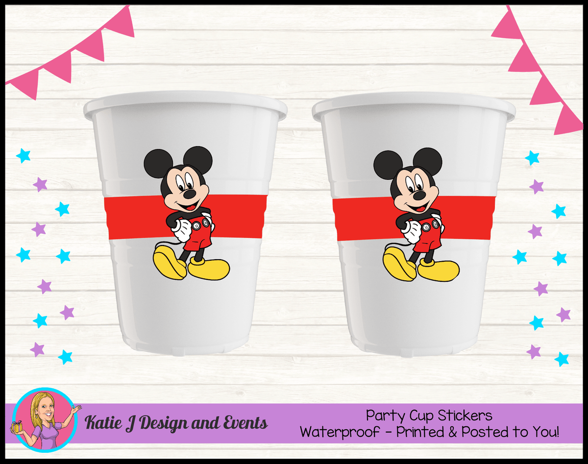 Personalised Red Mickey Mouse Party Cup Stickers Cups