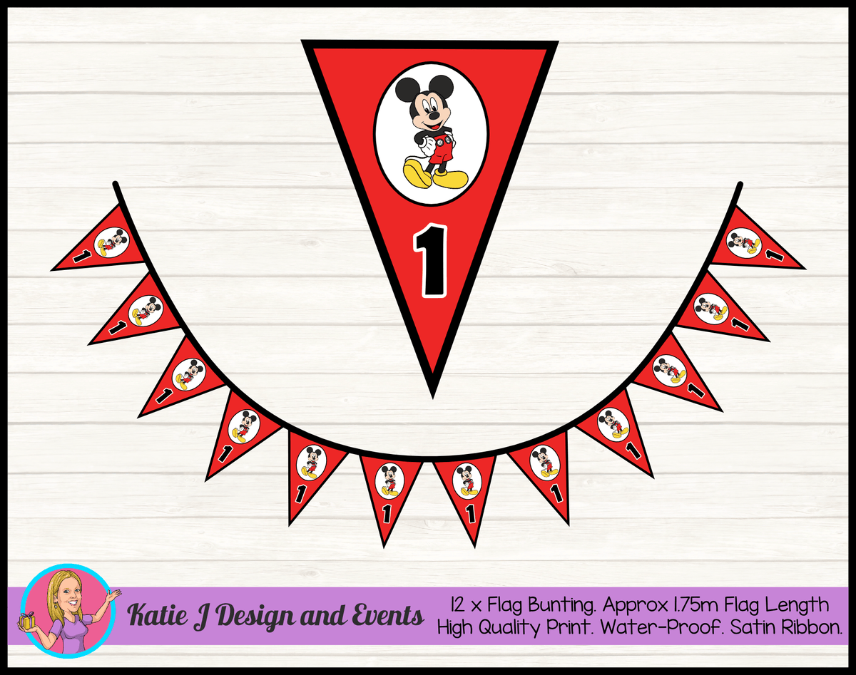 Personalised Red Mickey Mouse Birthday Party Flag Bunting
