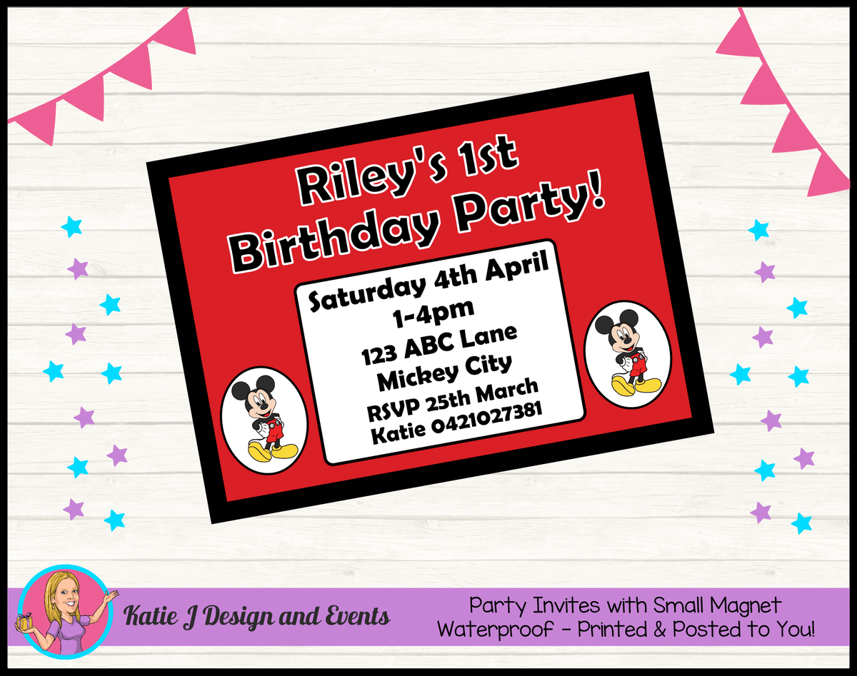 Personalised Red Mickey Mouse Birthday Party Invites Invitations