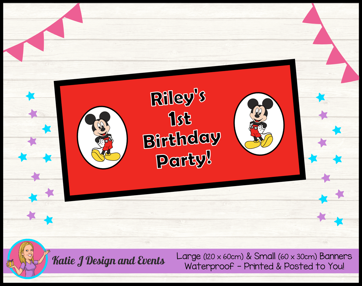 Personalised Red Mickey Mouse Birthday Party Banner