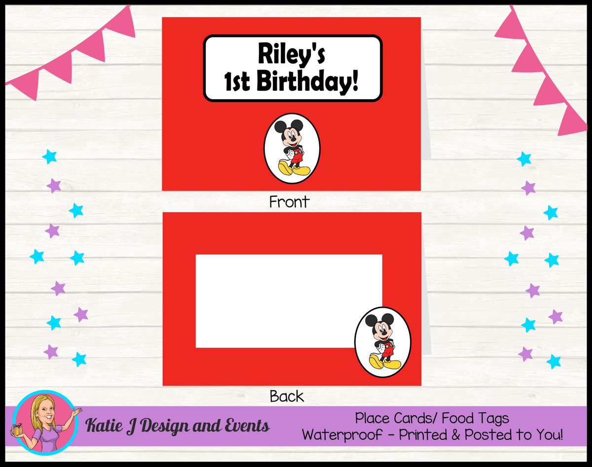 Personalised Red Mickey Mouse Party Place Cards