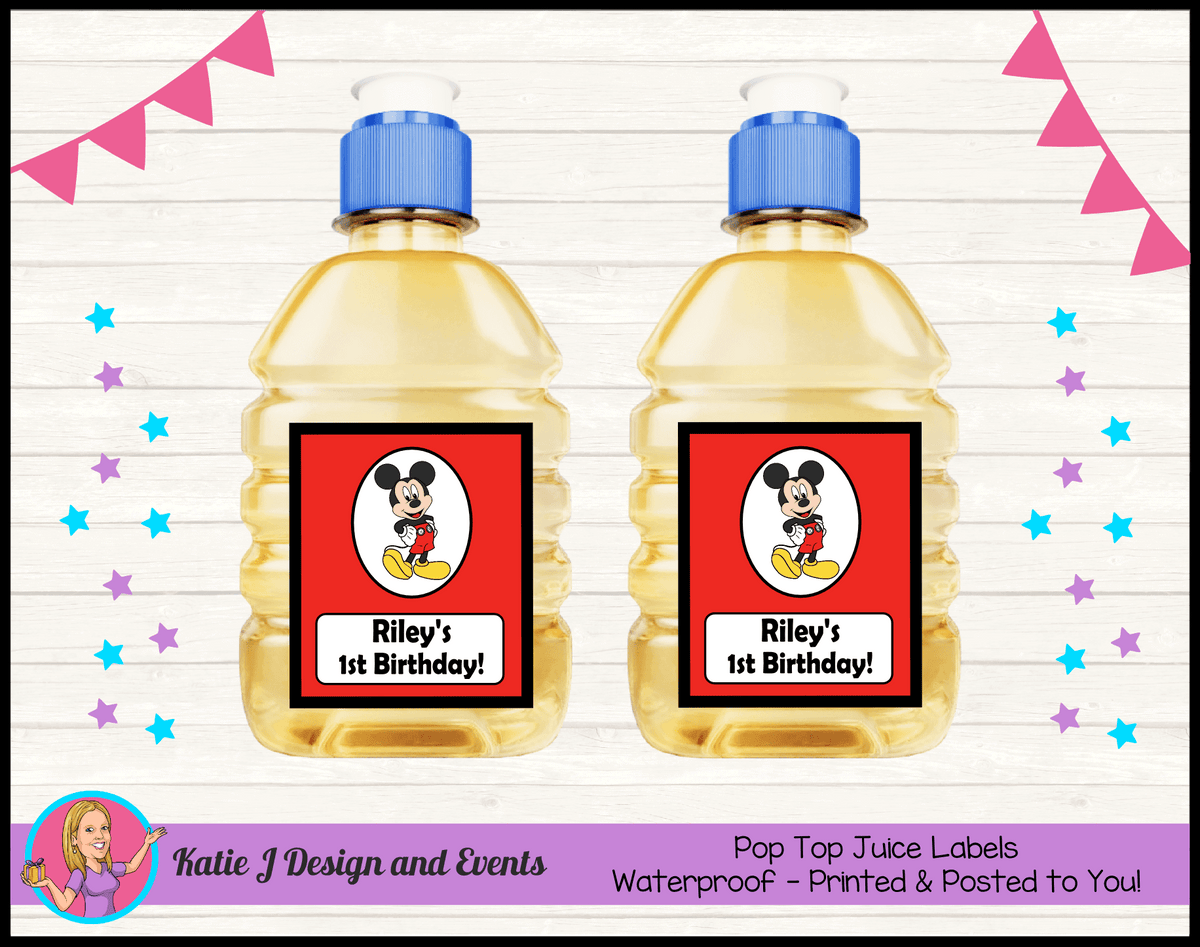 Personalised Red Mickey Mouse Pop Top Juice Labels
