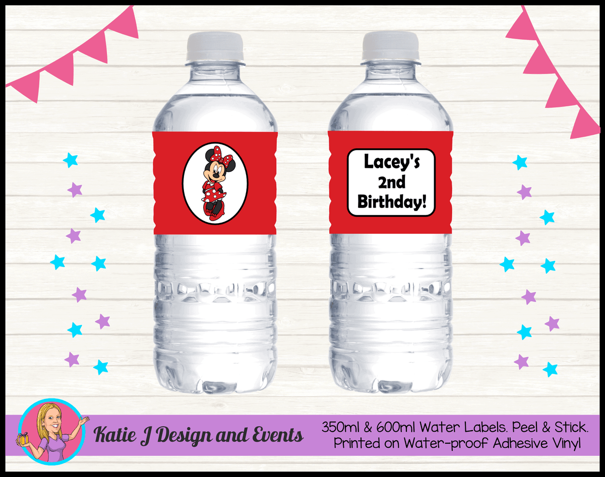 Personalised Red Minnie Mouse Party Water Labels