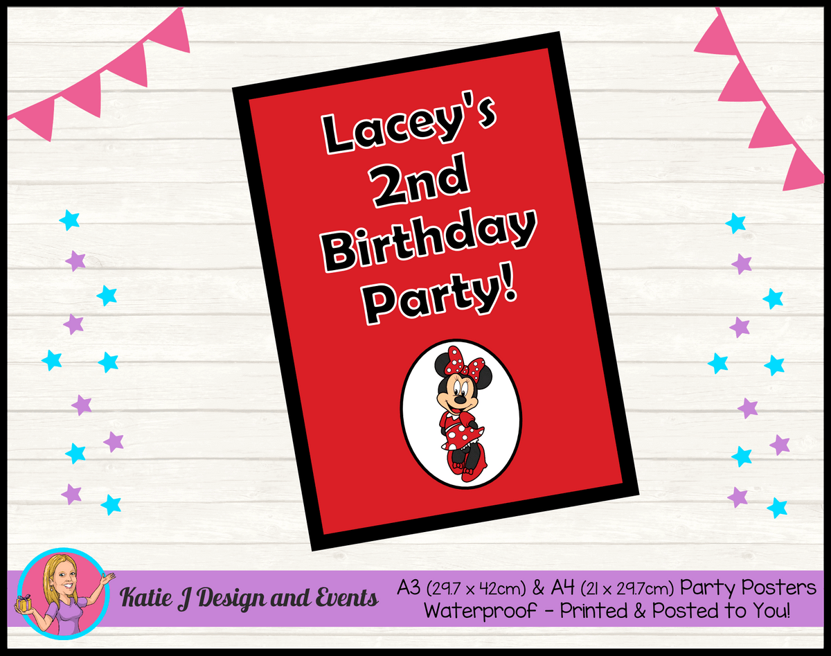 Personalised Red Minnie Mouse Birthday Party Poster