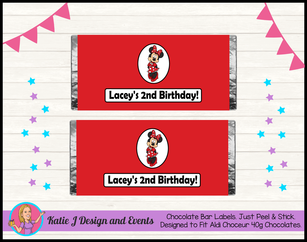 Personalised Red Minnie Mouse Chocolate Labels Wrappers