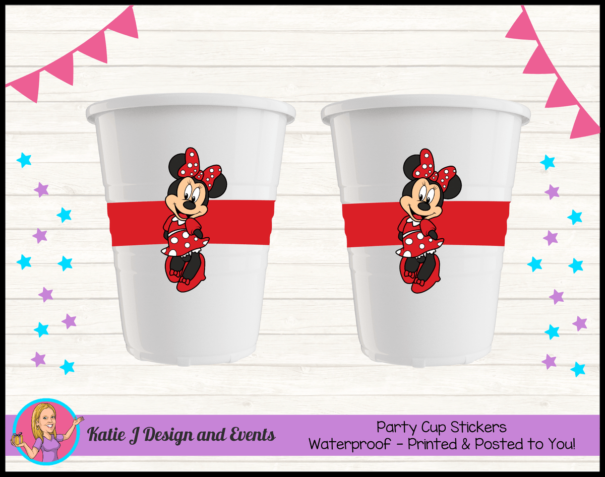 Personalised Red Minnie Mouse Party Cup Stickers Cups