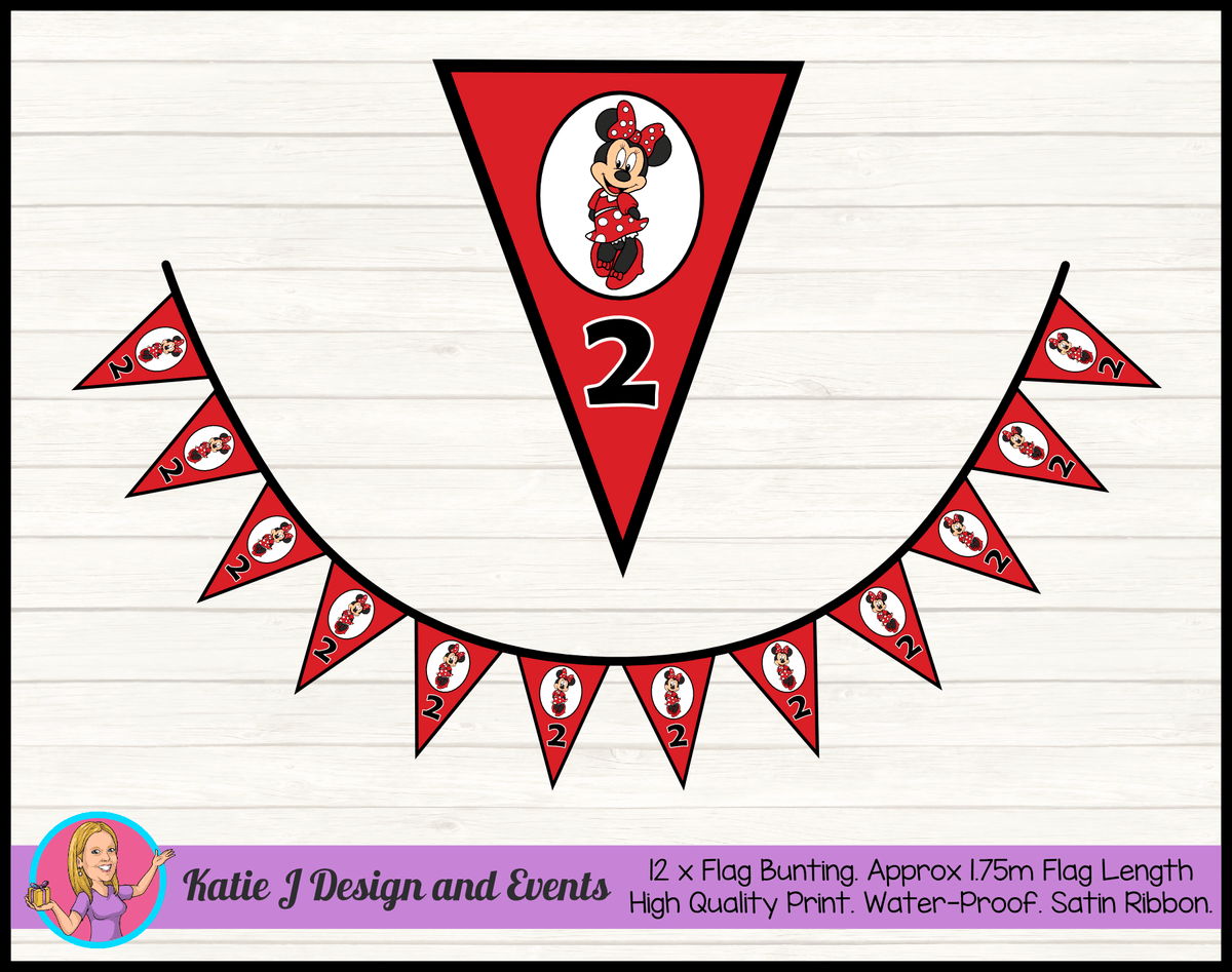 Personalised Red Minnie Mouse Birthday Party Flag Bunting