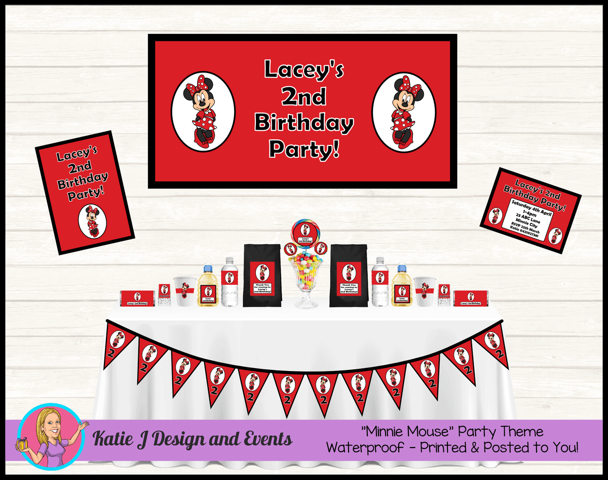 Personalised Red Minnie Mouse Party Packs Decorations Supplies