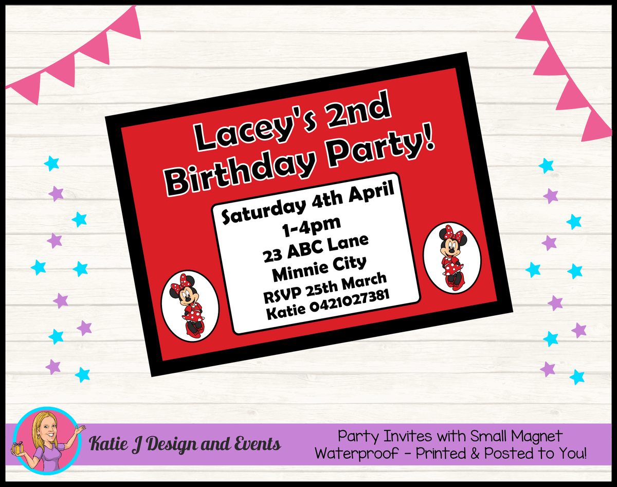 Personalised Red Minnie Mouse Birthday Party Invites Invitations