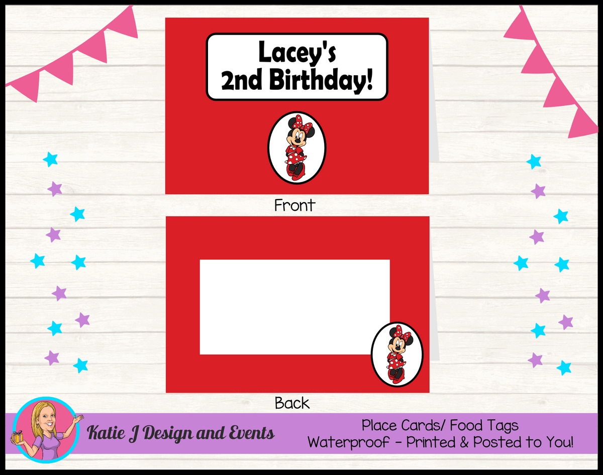 Personalised Red Minnie Mouse Party Place Cards