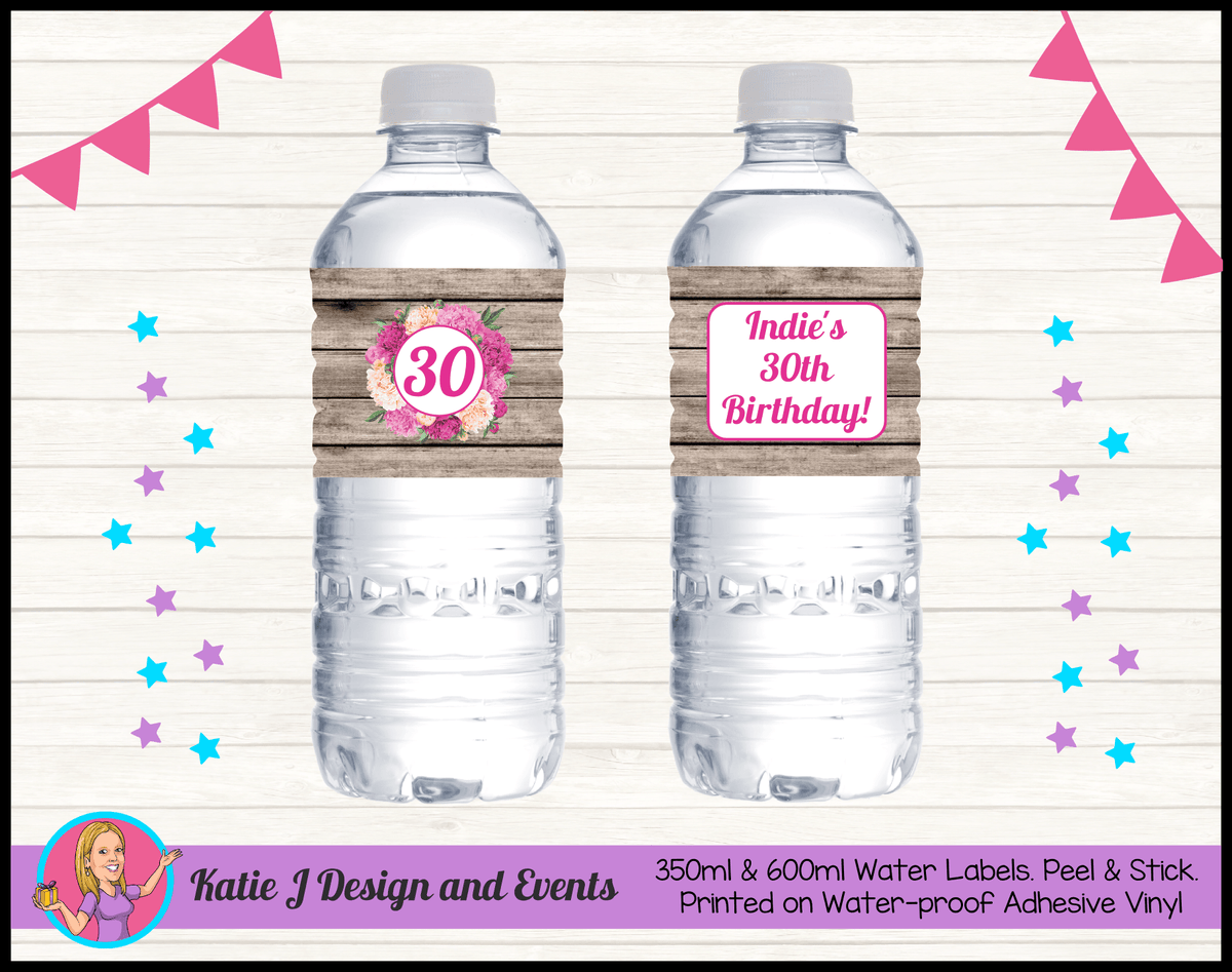 Personalised Rustic Floral Birthday Party Water Labels