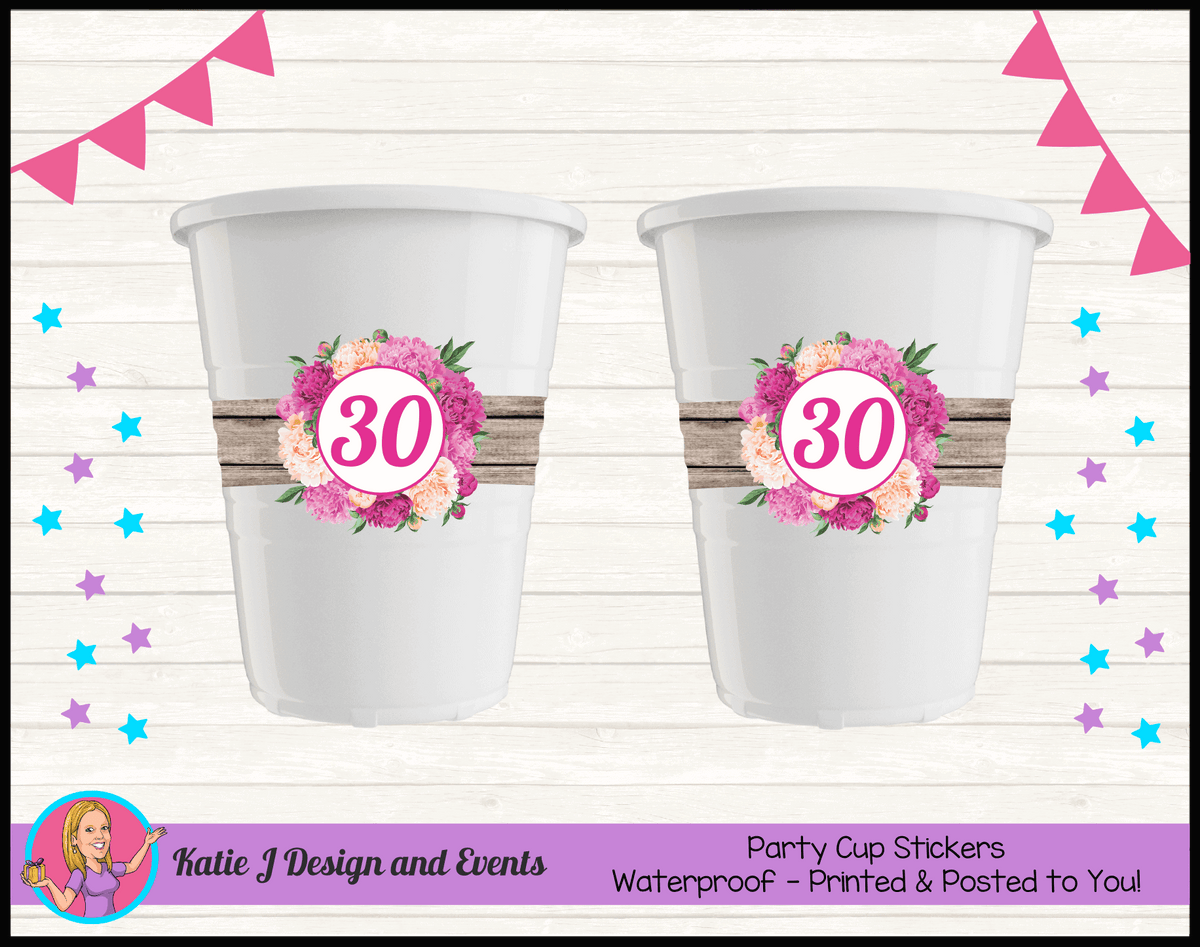 Personalised Rustic Floral Party Cup Stickers Cups