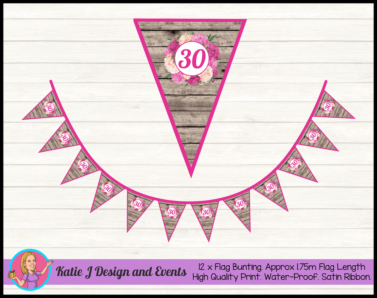 Personalised Rustic Floral Birthday Party Flag Bunting
