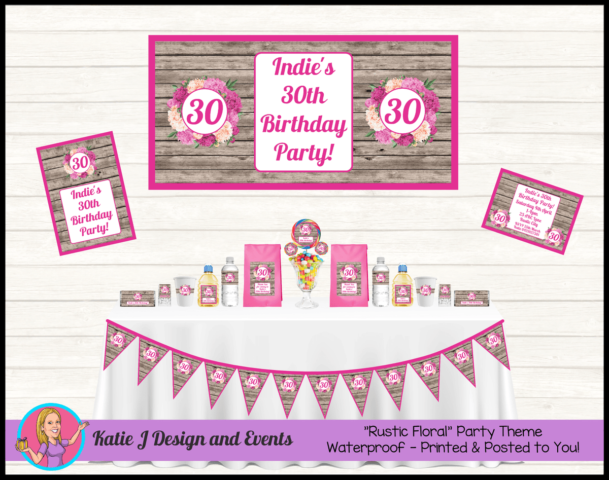Personalised Rustic Floral Birthday Party Packs Decorations Supplies