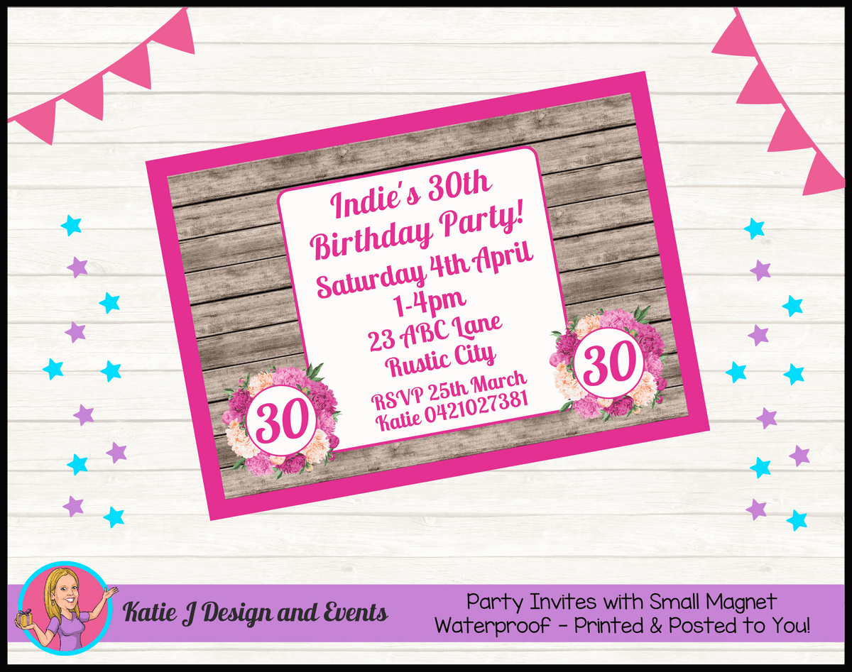 Personalised Rustic Floral Birthday Party Invites