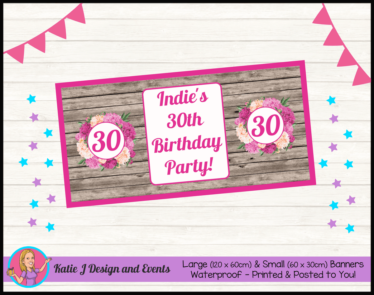 Personalised Rustic Floral Birthday Party Banner
