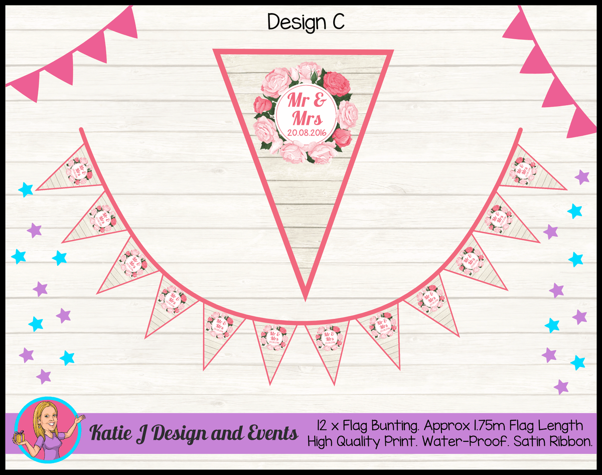 Rustic Floral Wedding Flag Bunting