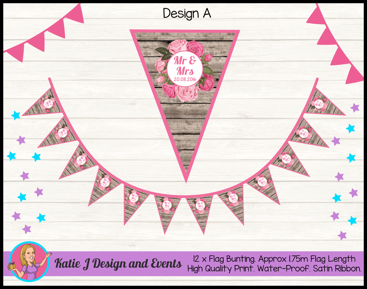 Rustic & Floral PERSONALISED Wedding Banners Flag Bunting