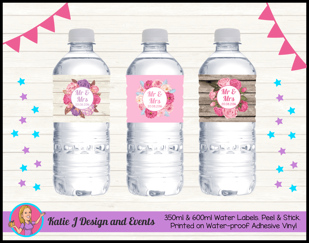 Personalised Rustic & Floral Wedding Water Bottle Labels