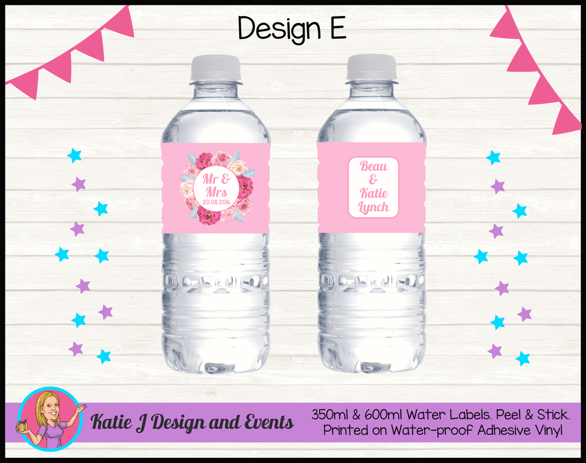 Rustic Floral Wedding Water Labels