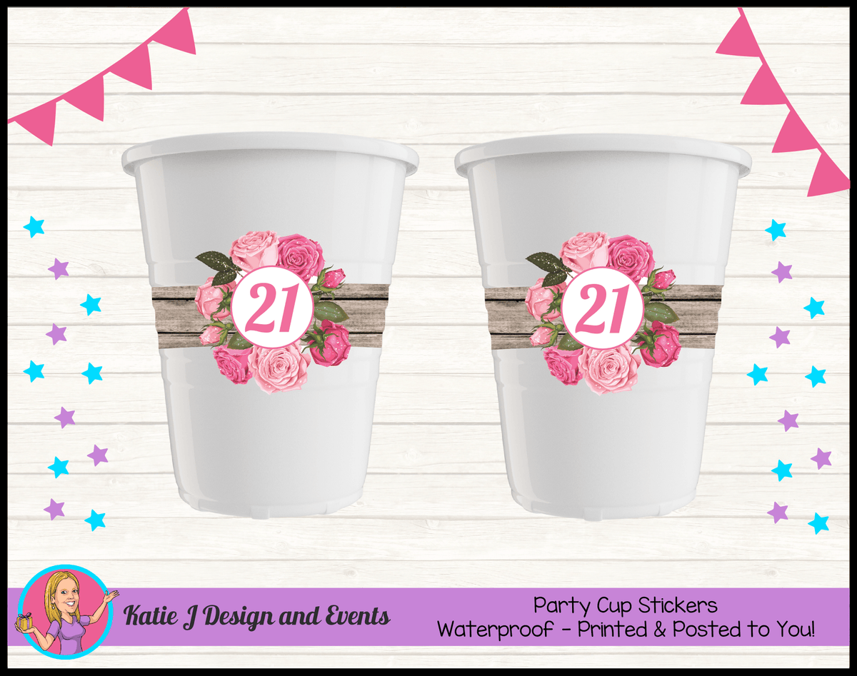 Personalised Rustic Roses Party Cup Stickers Cups