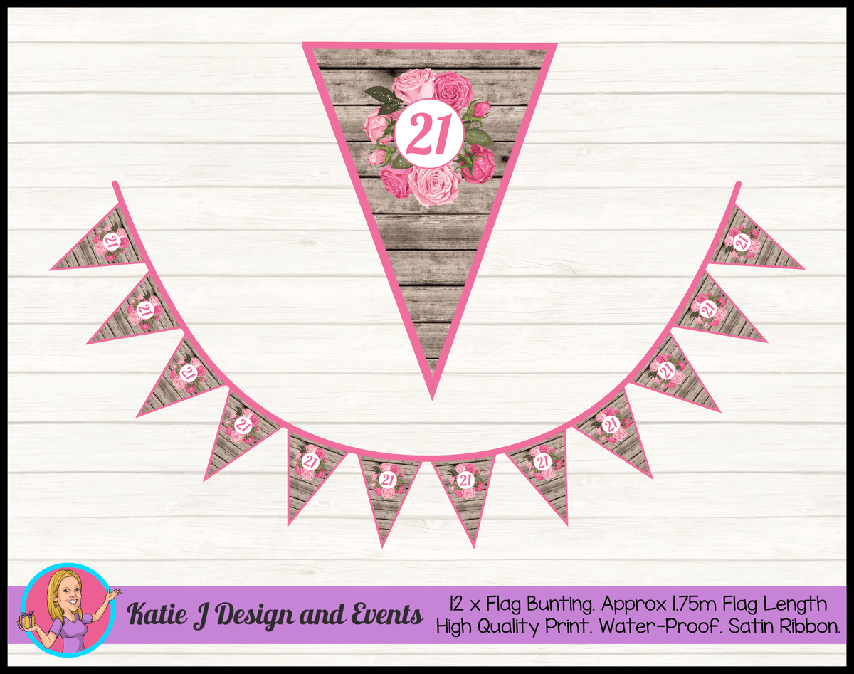 Personalised Rustic Roses Birthday Party Flag Bunting