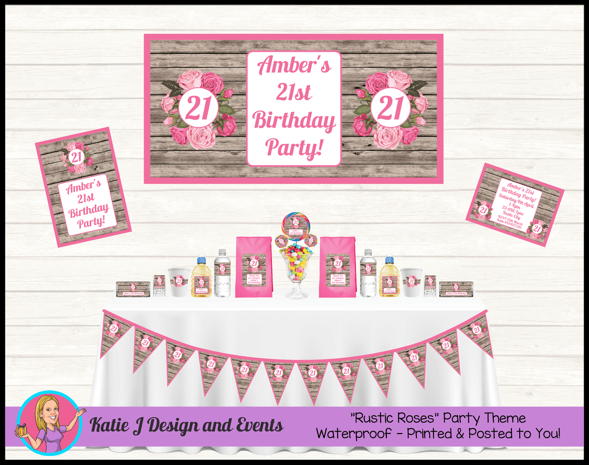 Personalised Rustic Roses Party Packs Decorations Supplies