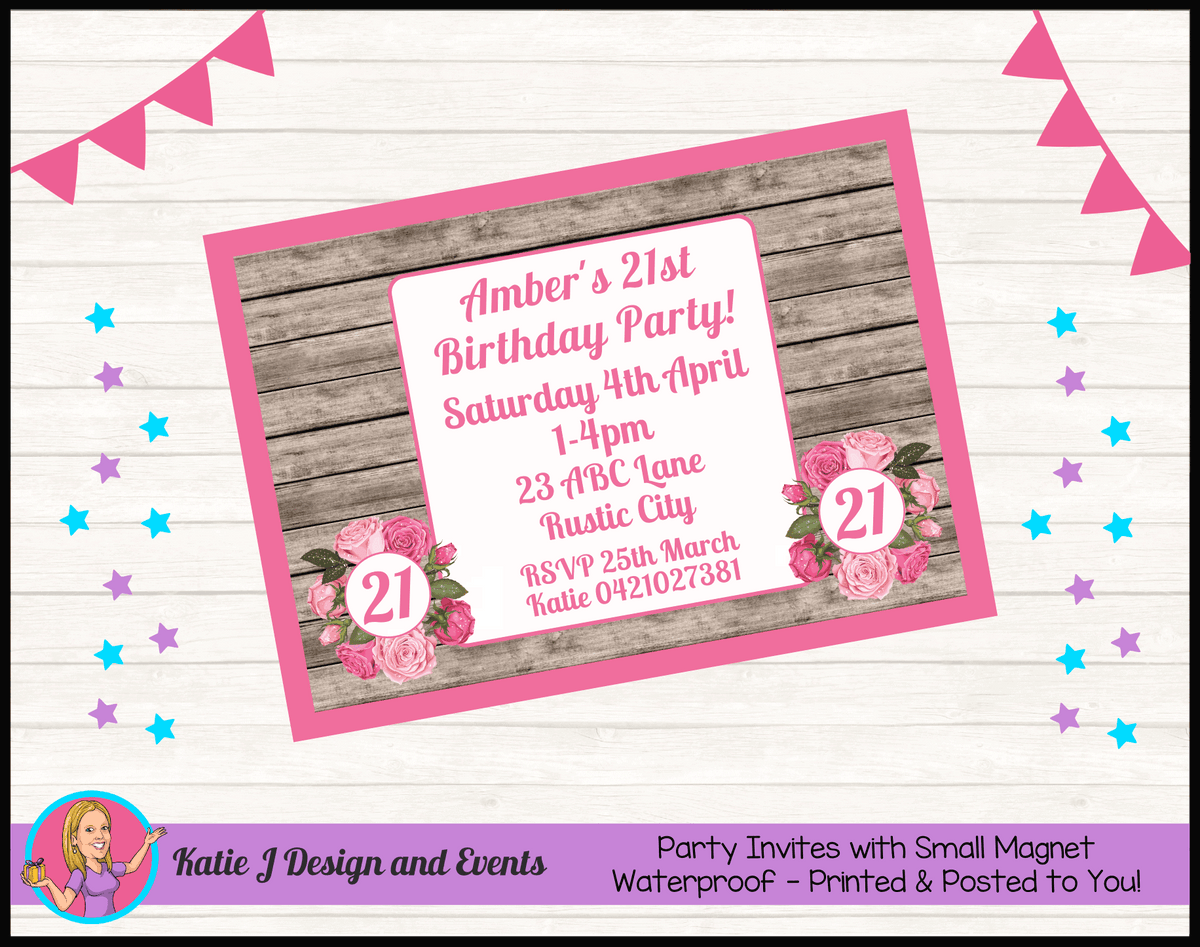 Personalised Rustic Roses Birthday Party Invites Invitations