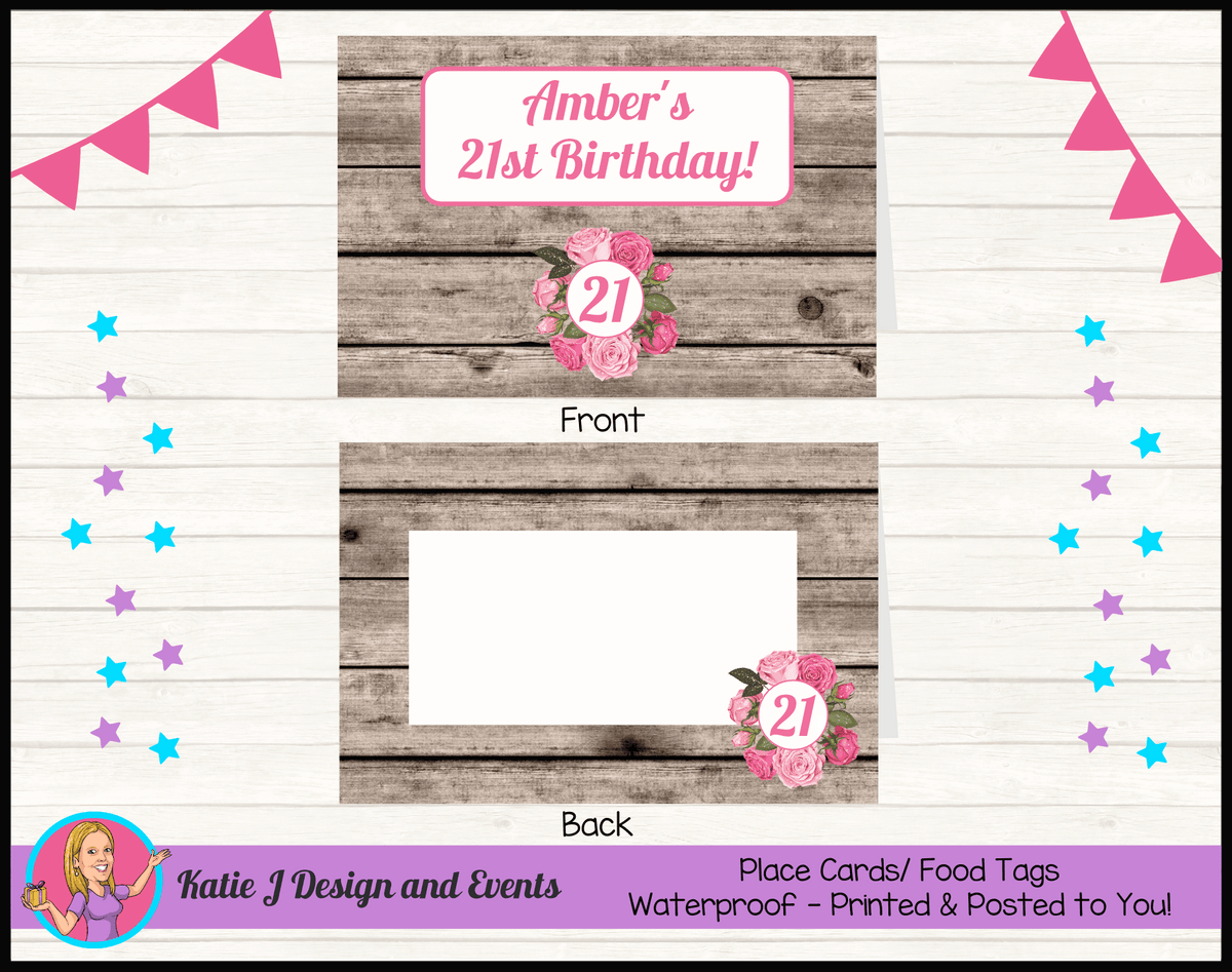 Personalised Rustic Roses Birthday Party Place Cards