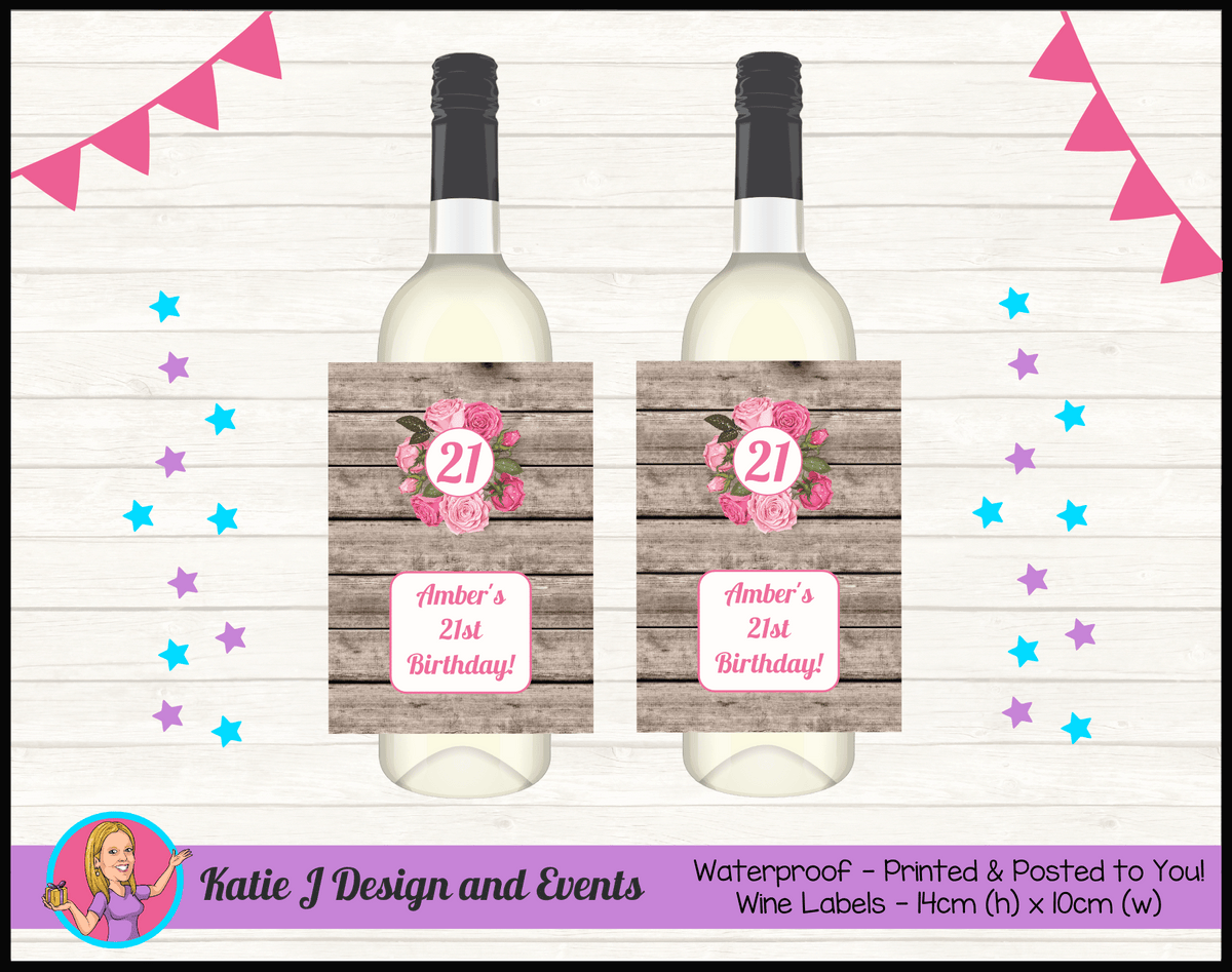 Personalised Rustic Roses Birthday Party Wine labels