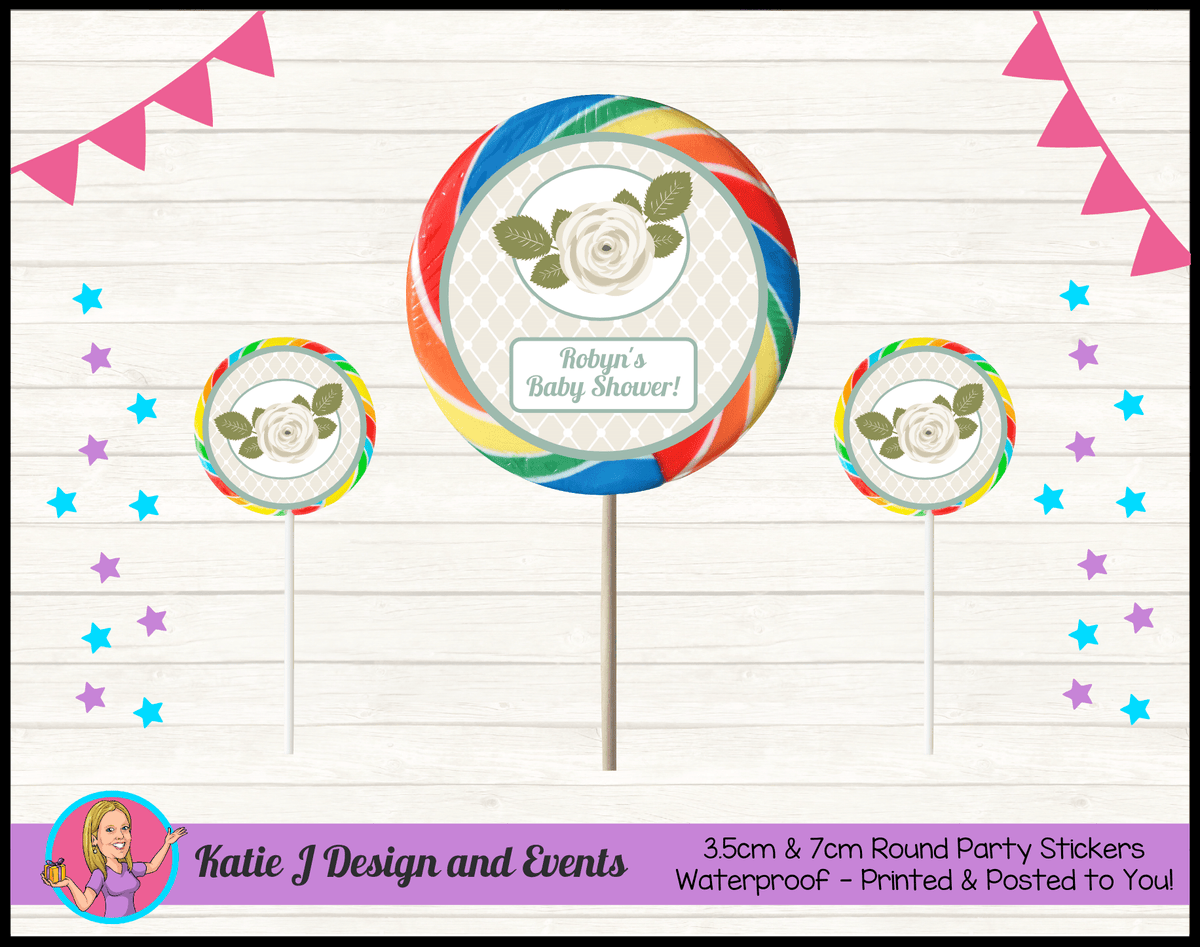 Personalised Sage Rose Baby Shower Round Lollipop Stickers