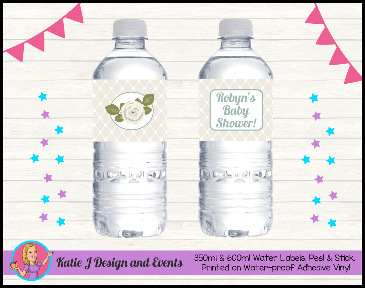 Personalised Sage Rose Baby Shower Water Labels