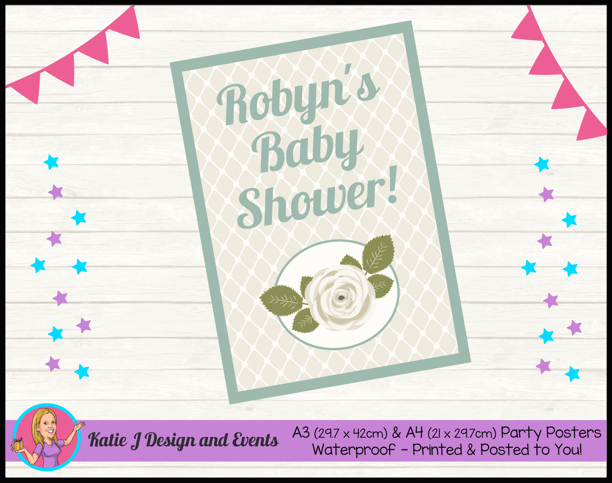 Personalised Sage Rose Baby Shower Poster