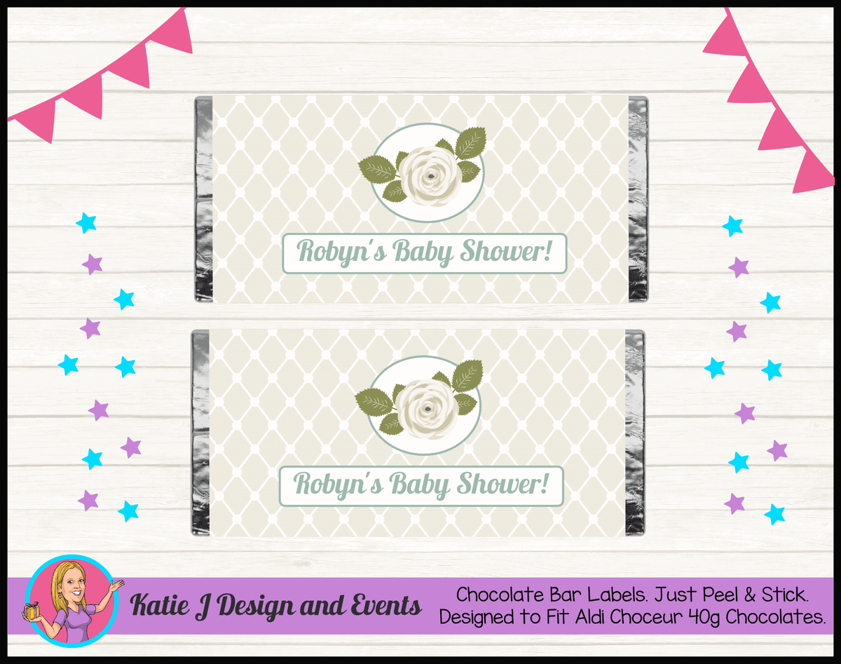 Personalised Sage Rose Baby Shower Chocolate Labels Wrappers