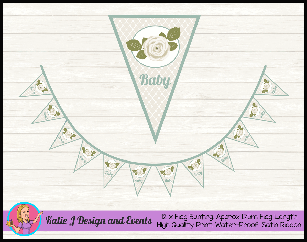 Personalised Sage Rose Baby Shower Flag Bunting