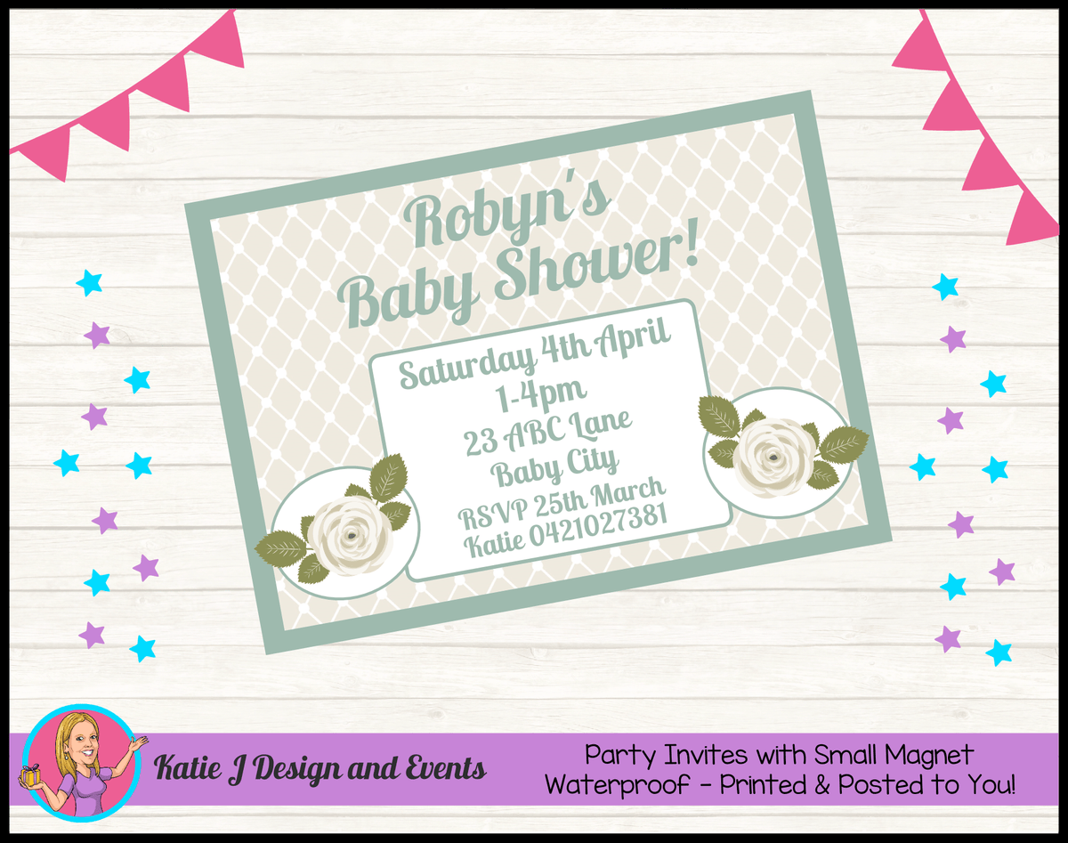 Personalised Sage Rose Baby Shower Invites Invitations