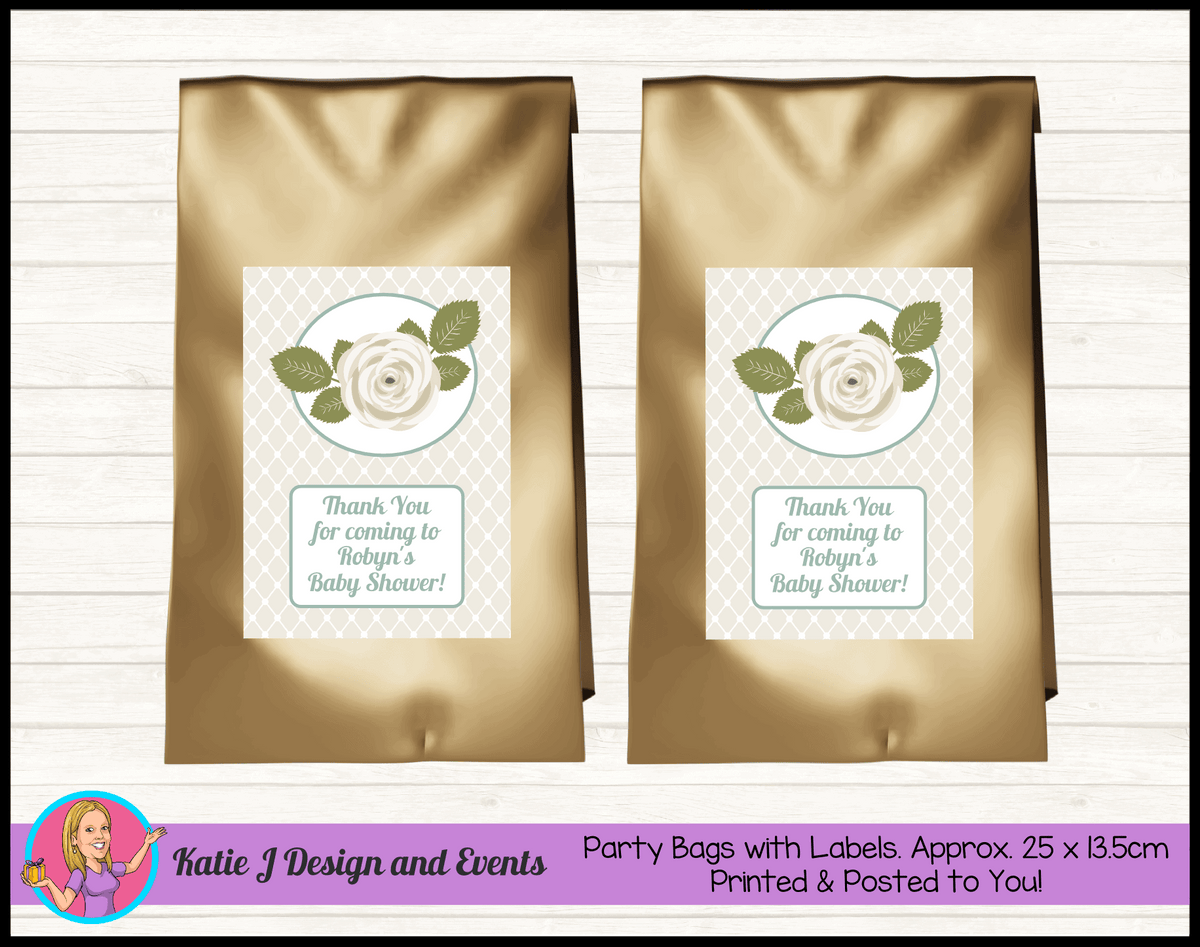 Personalised Sage Rose Baby Shower Party Loot Bags