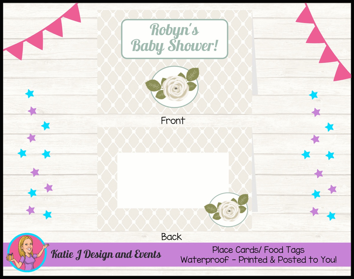 Personalised Sage Rose Baby Shower Place Cards