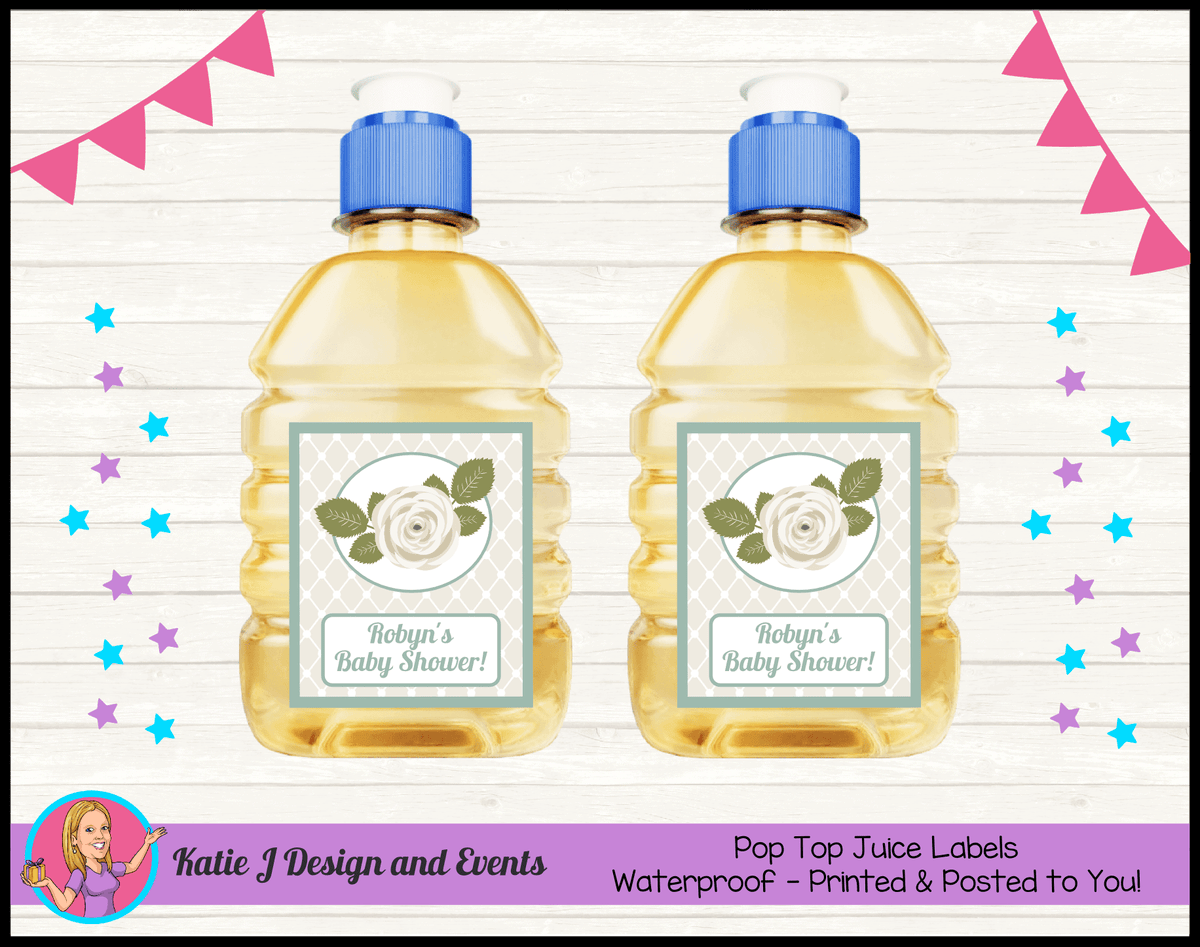 Personalised Sage Rose Baby Shower Pop Top Juice Labels