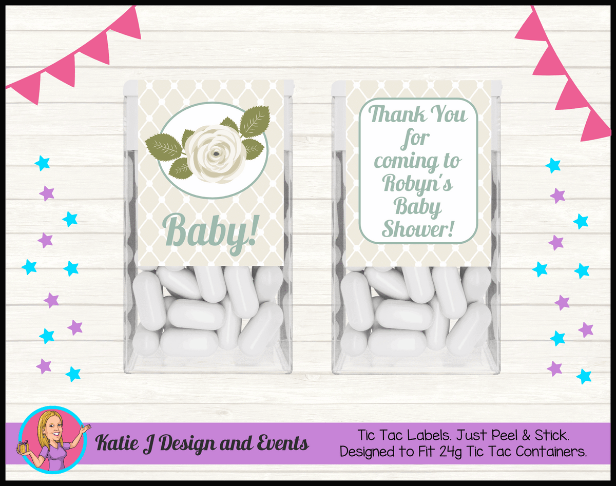Personalised Sage Rose Baby Shower Tic Tac Mint Labels