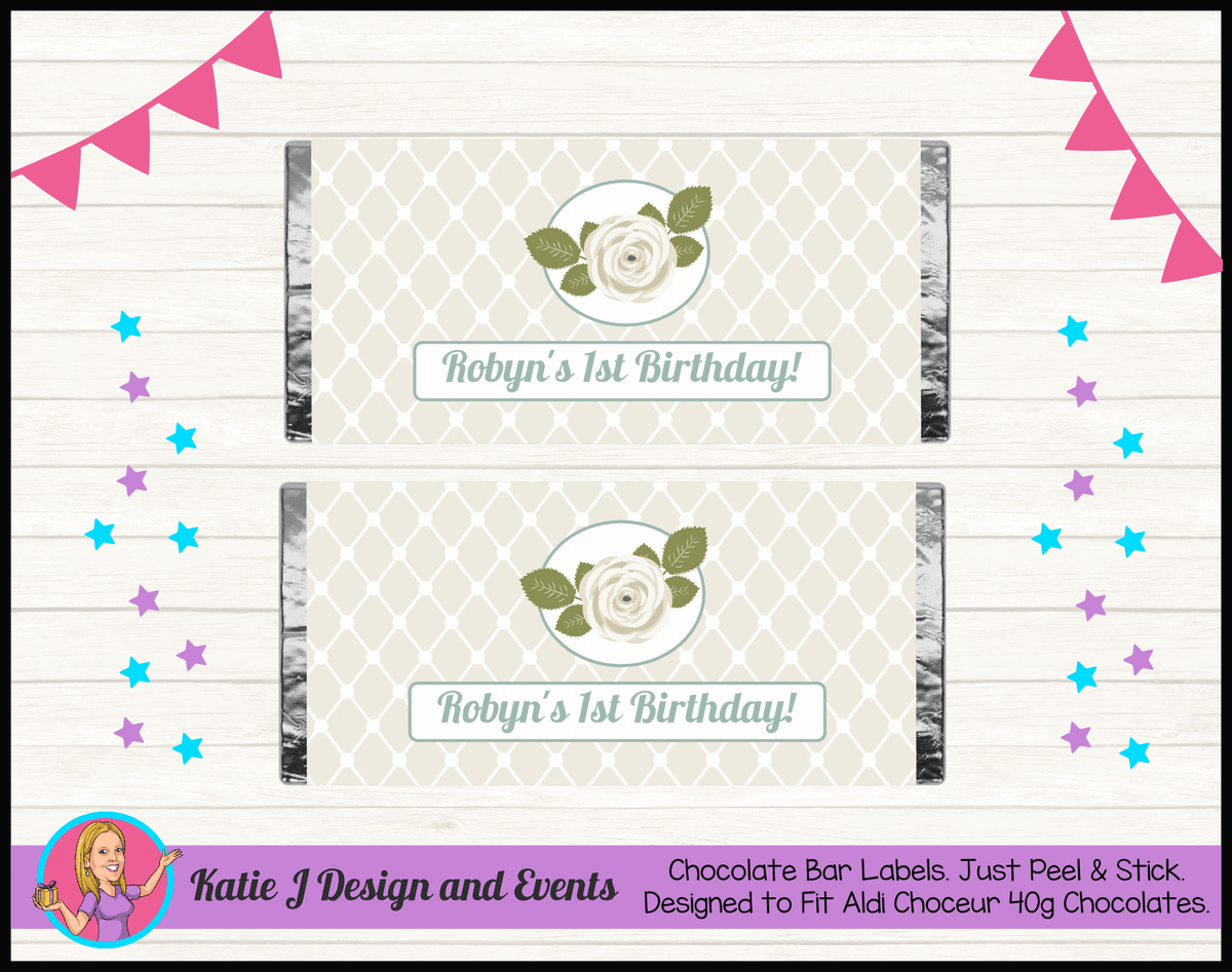 Sage Floral Rose Personalised Birthday Party Aldi Mini Chocolate Labels Wrappers