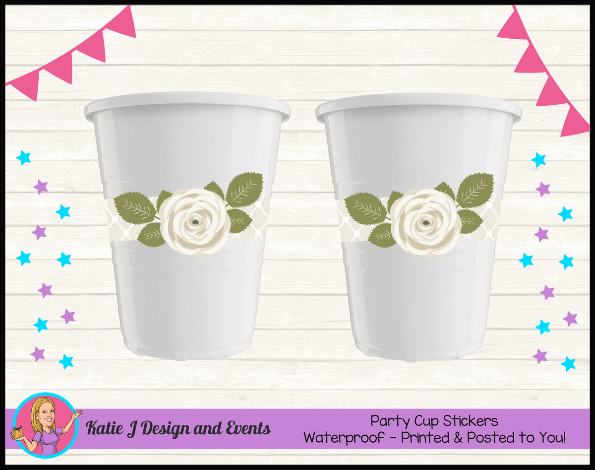 Sage Floral Rose Personalised Birthday Party Cup Stickers Cups