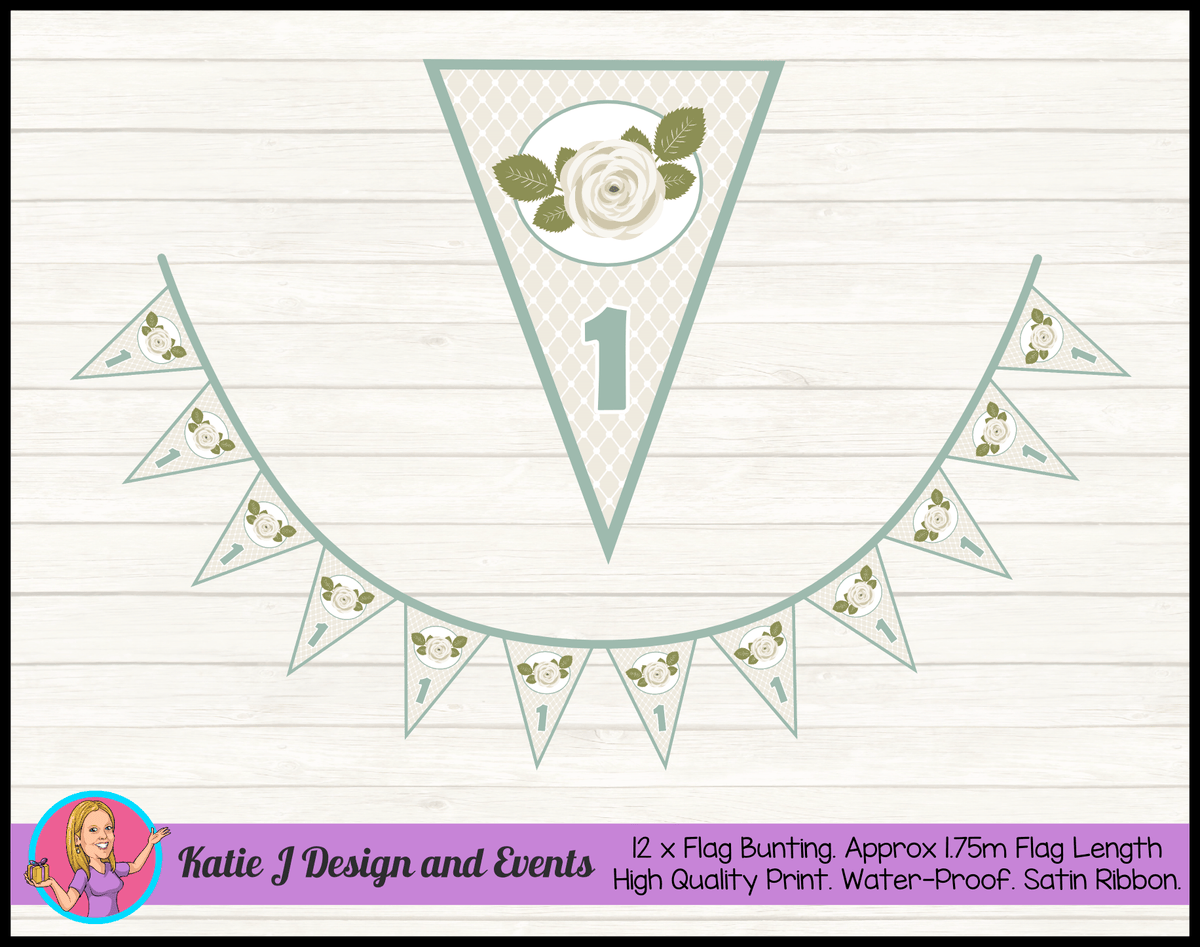 Personalised Sage Rose Birthday Party Flag Bunting
