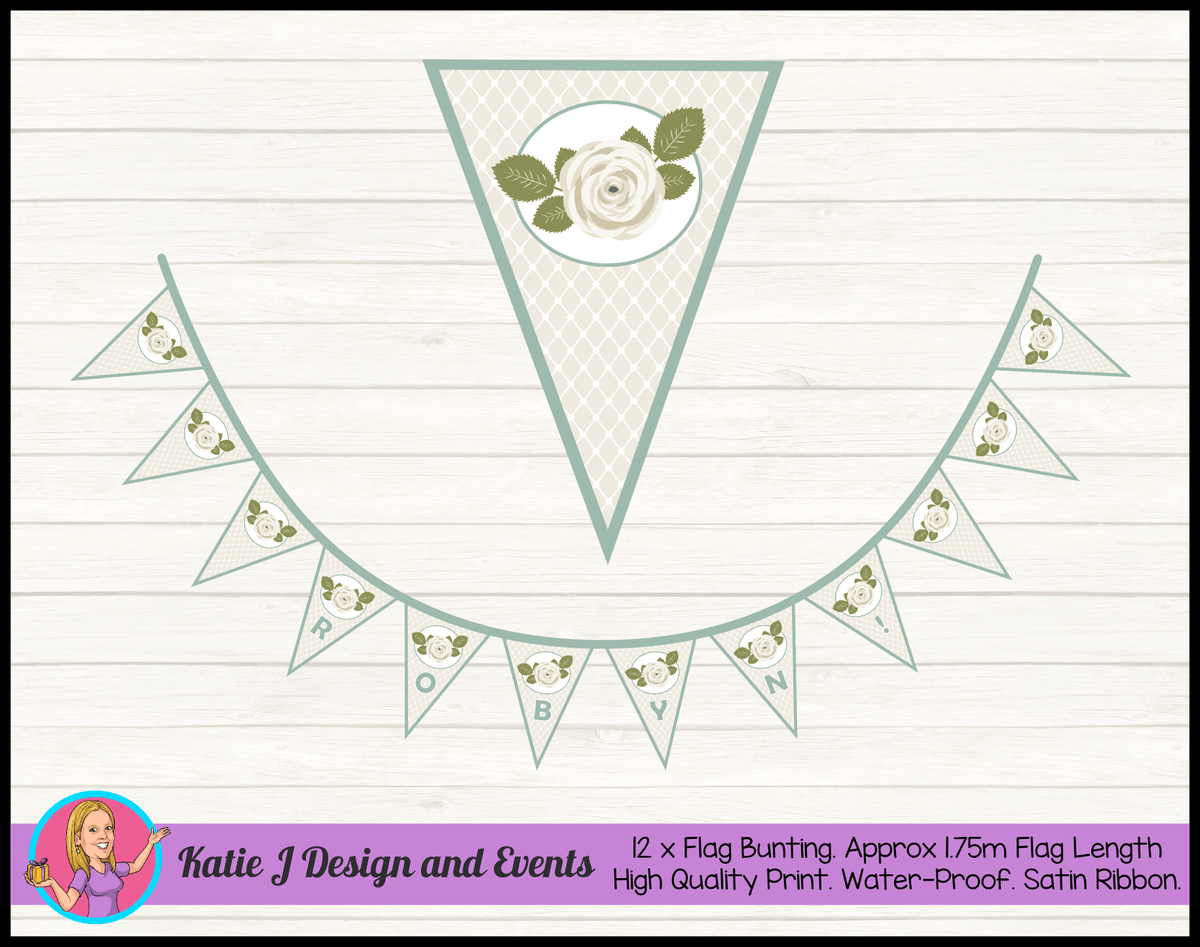 Sage Floral Rose Personalised Birthday Party Flag Bunting Name