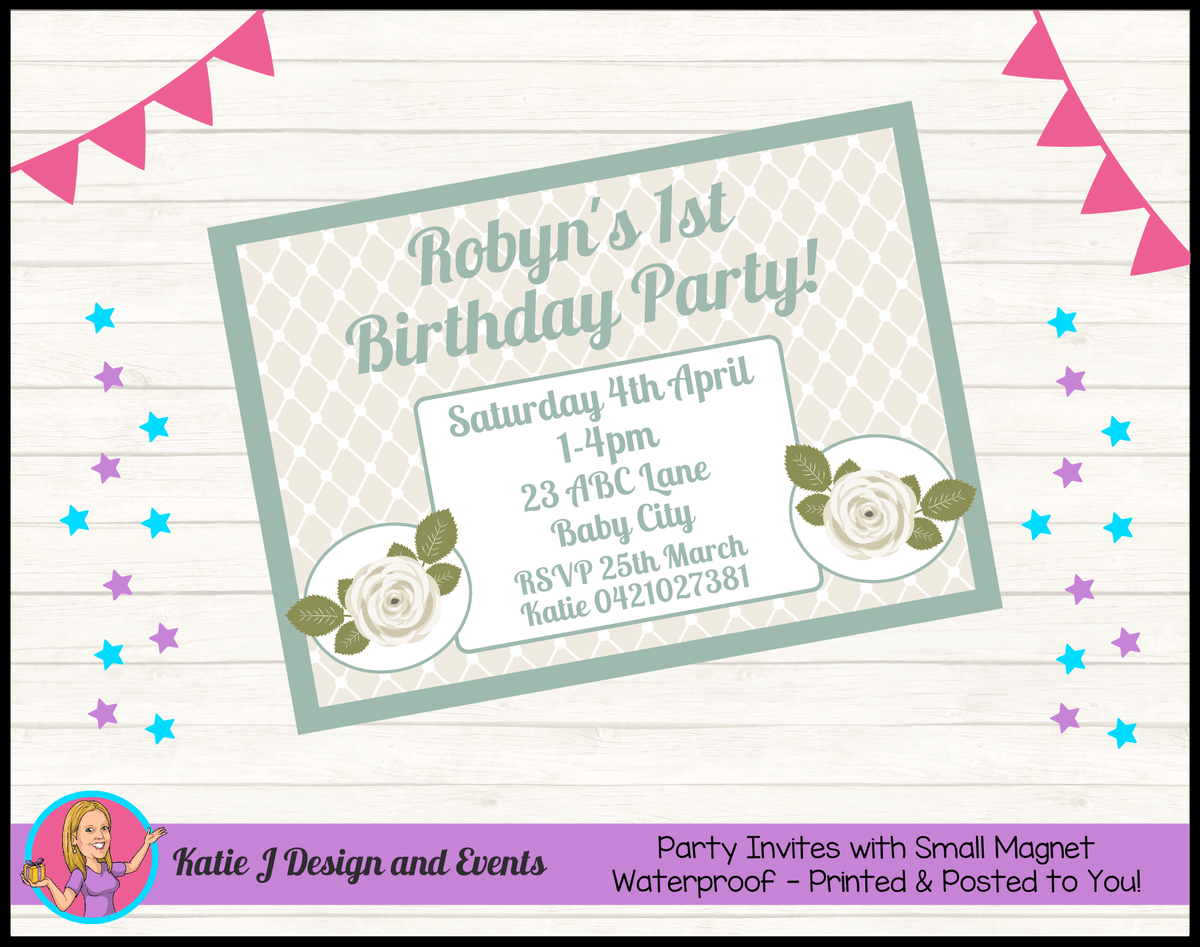 Sage Floral Rose Personalised Birthday Party Invites Invitations